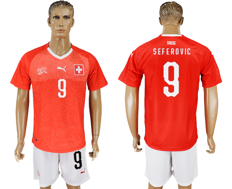 Men 2018 World Cup National Switzerland home 9 red soccer jersey