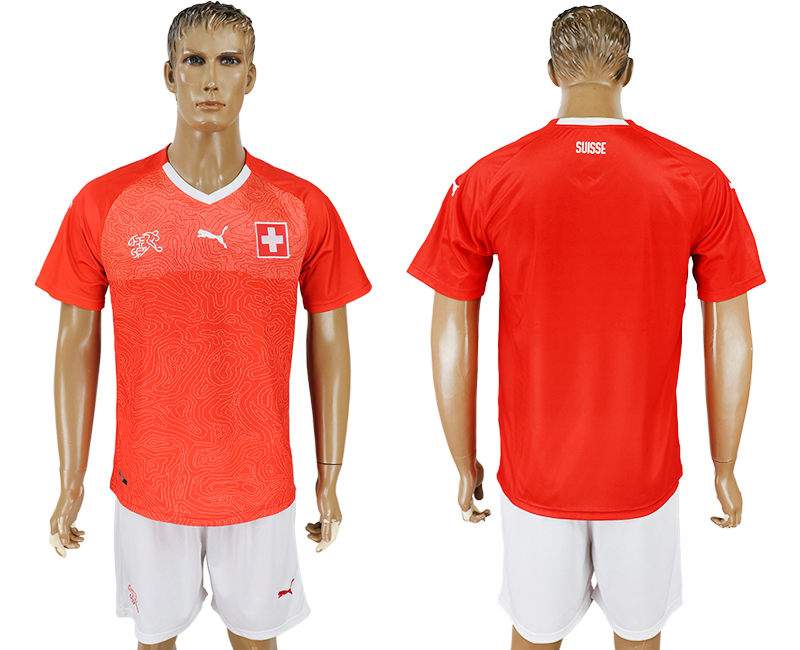 Men 2018 World Cup National Switzerland home red soccer jersey