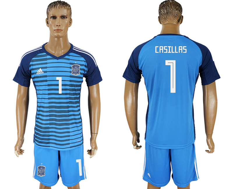 Men 2018 World Cup Spain Lake blue goalkeeper 1 soccer jersey
