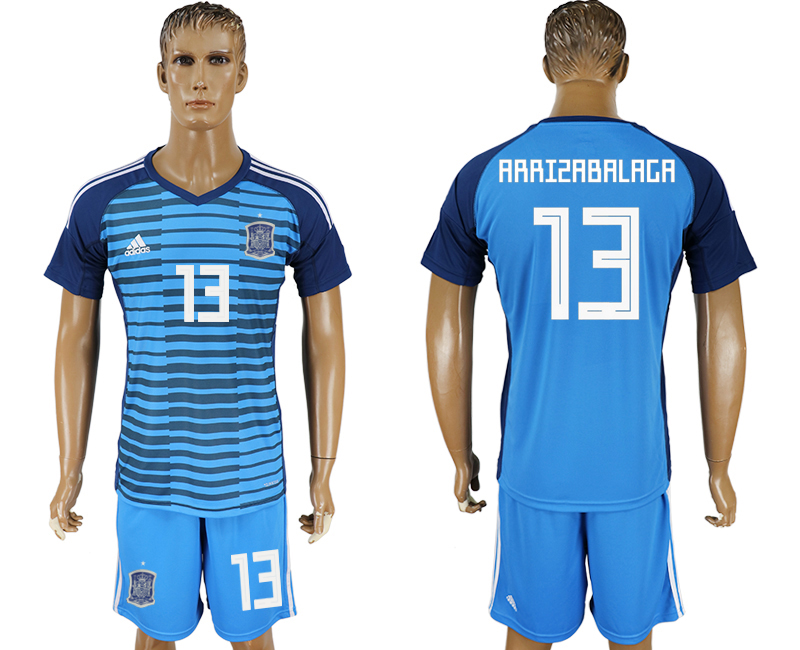 Men 2018 World Cup Spain Lake blue goalkeeper 13 soccer jersey