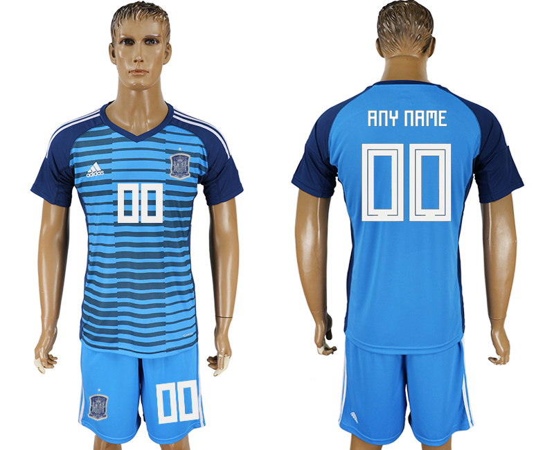 Men 2018 World Cup Spain Lake blue goalkeeper customized soccer jersey
