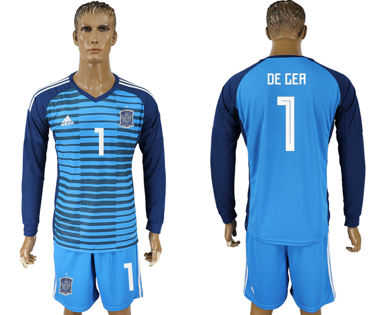 Men 2018 World Cup Spain Lake blue goalkeeper long sleeve 1 soccer jersey