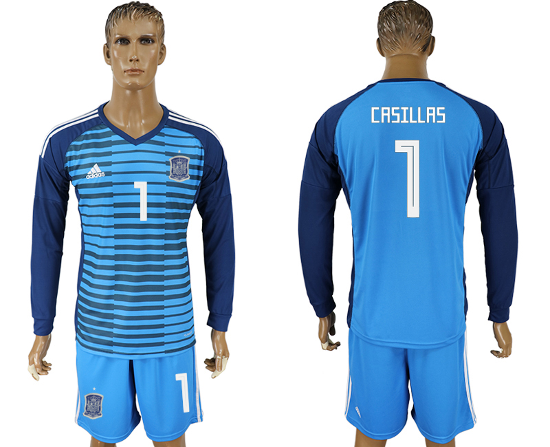 Men 2018 World Cup Spain Lake blue goalkeeper long sleeve 1 soccer jersey1