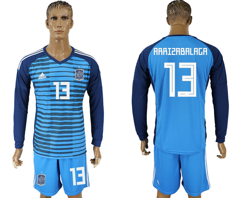 Men 2018 World Cup Spain Lake blue goalkeeper long sleeve 13 soccer jersey