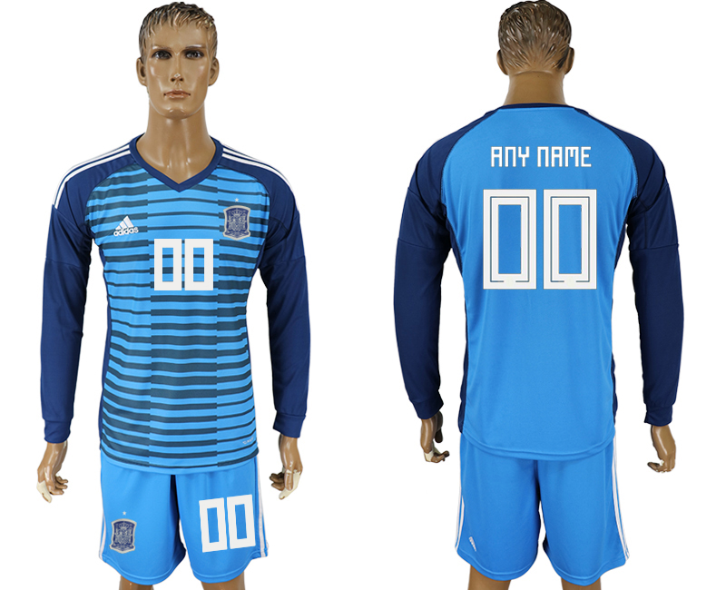 Men 2018 World Cup Spain Lake blue goalkeeper long sleeve customized soccer jersey