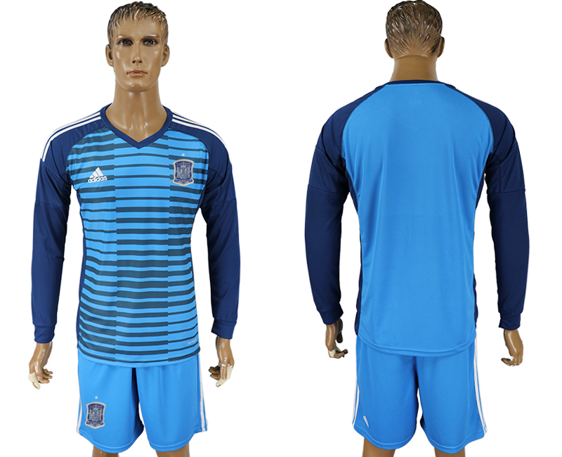 Men 2018 World Cup Spain Lake blue goalkeeper long sleeve soccer jersey
