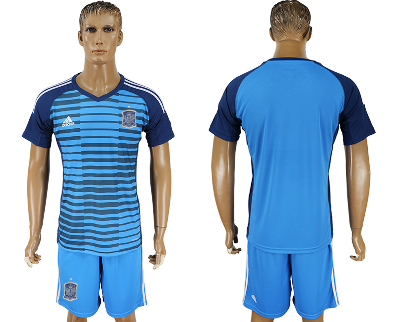 Men 2018 World Cup Spain Lake blue goalkeeper soccer jersey