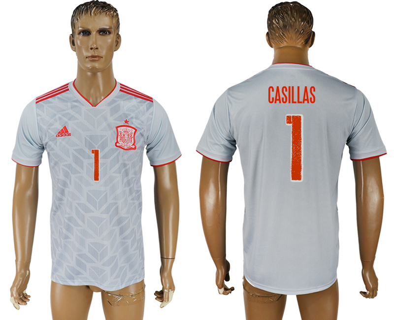 Men 2018 World Cup Spain away aaa version 1 white soccer jersey