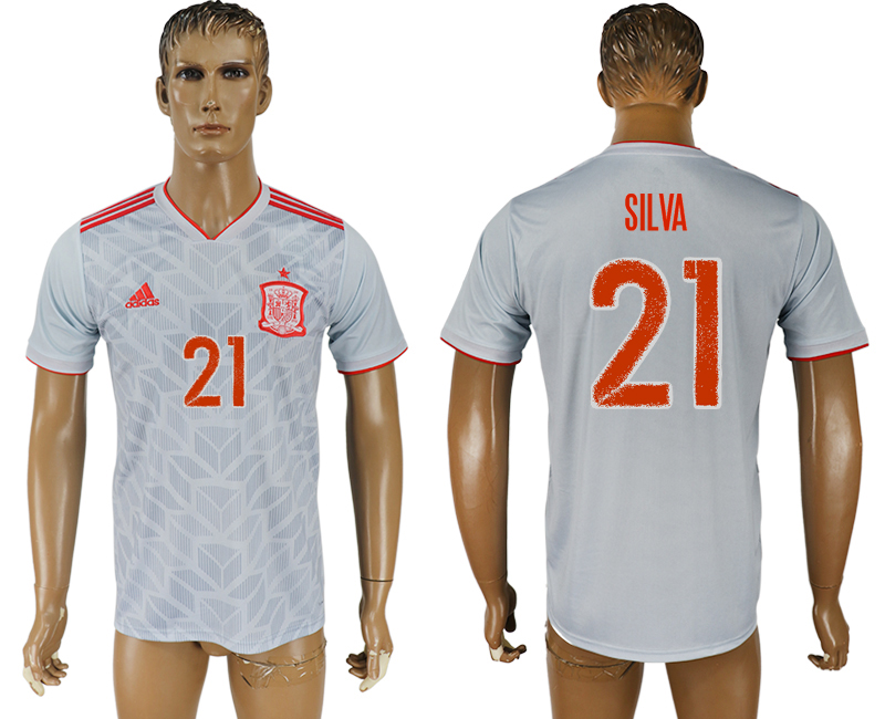 Men 2018 World Cup Spain away aaa version 21 white soccer jersey