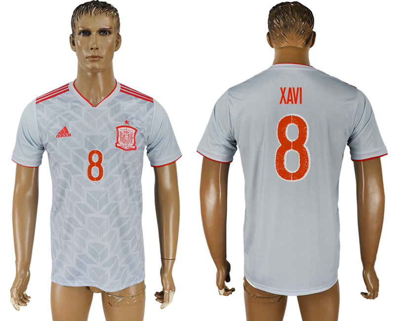 Men 2018 World Cup Spain away aaa version 8 white soccer jersey