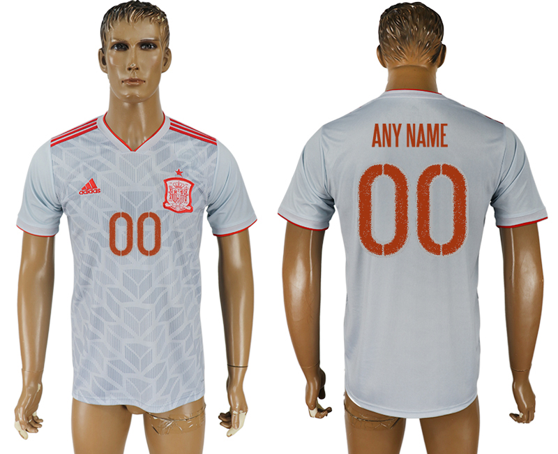 Men 2018 World Cup Spain away aaa version customized white soccer jersey