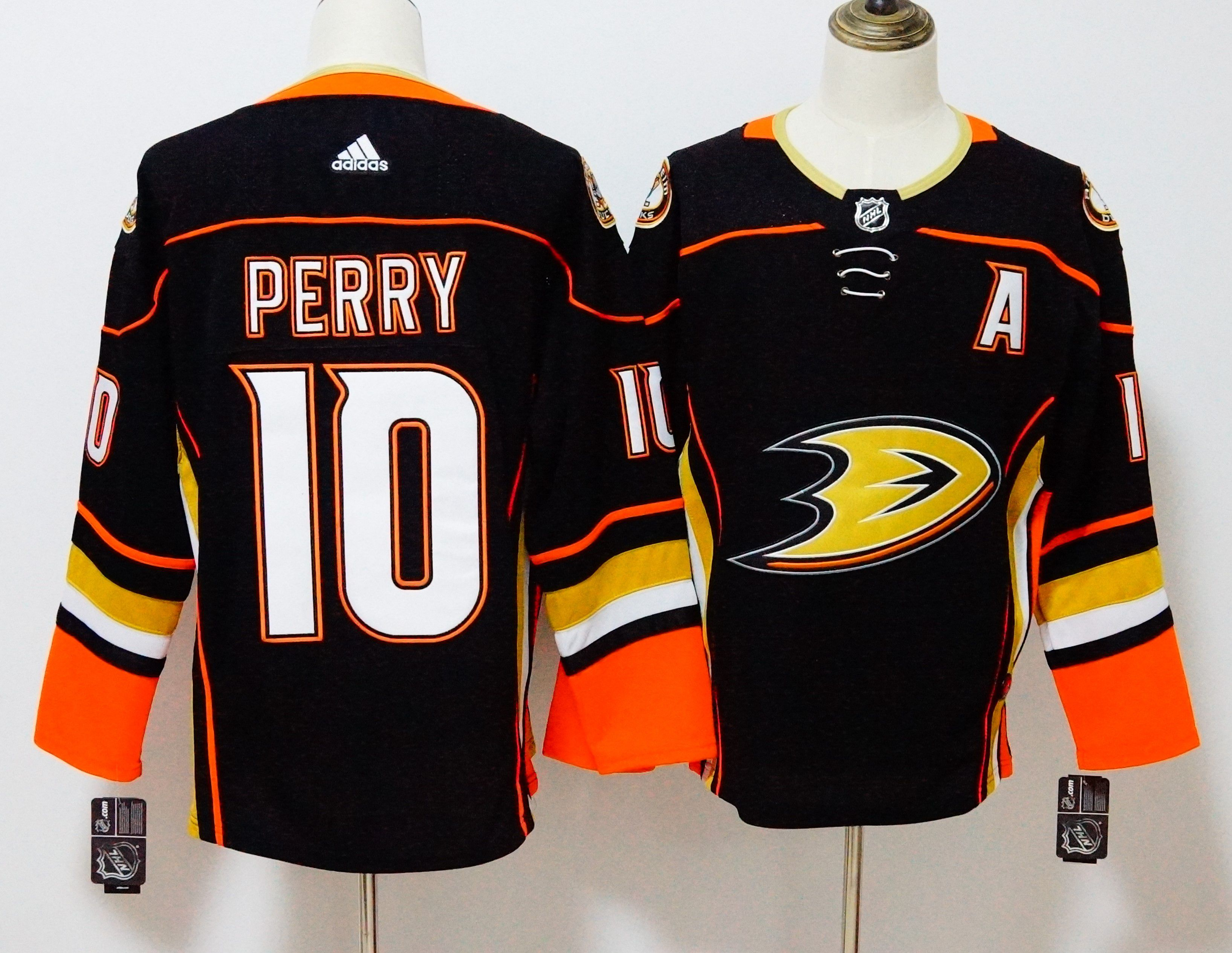 Men Anaheim Ducks 10 Perry Black Hockey Stitched Adidas NHL Jerseys