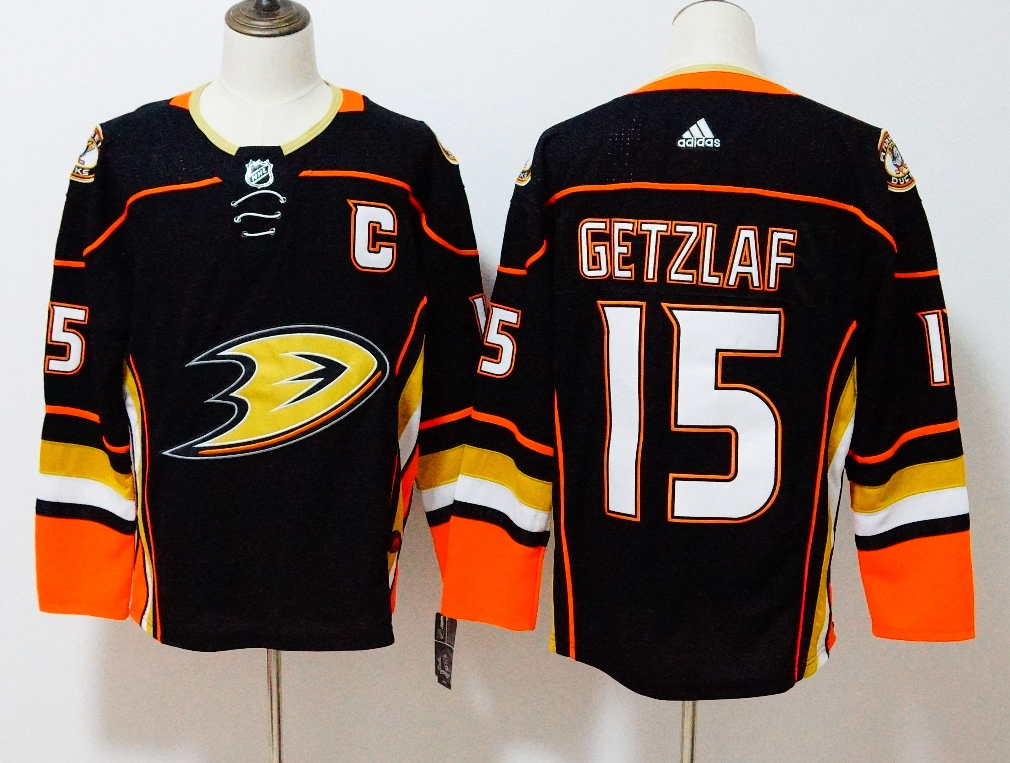 Men Anaheim Ducks 15 Getzlaf Black Hockey Stitched Adidas NHL Jerseys