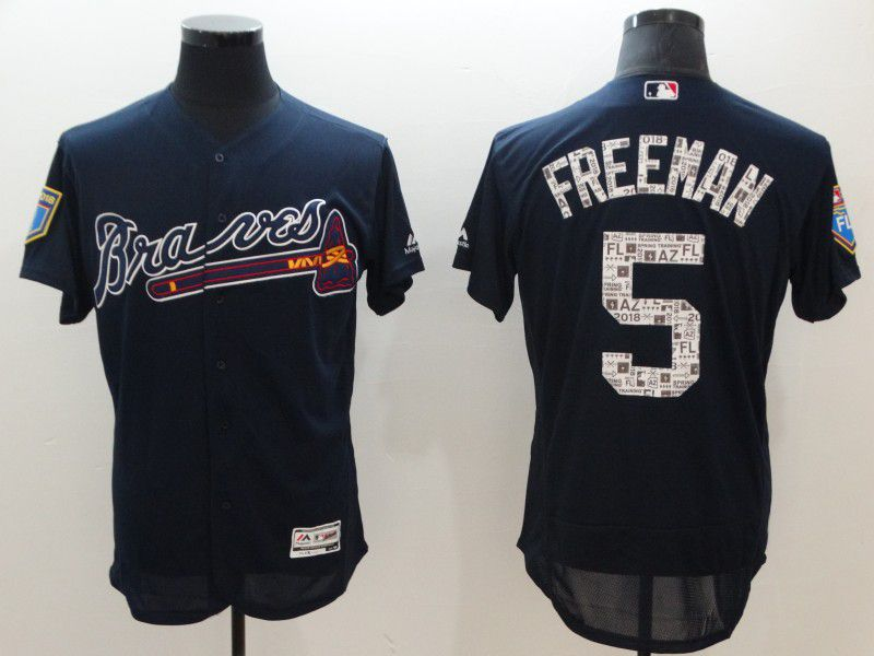 Men Atlanta Braves 5 Freeman Blue Elite Spring Edition MLB Jerseys