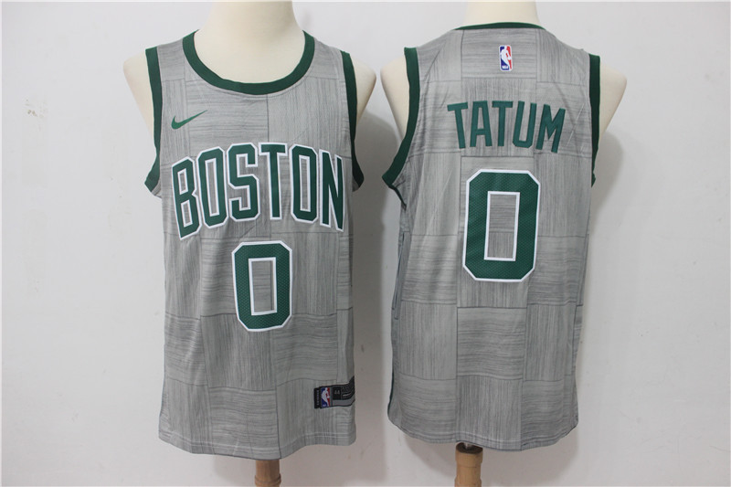 Men Boston Celtics 0 Tatum Grey Game Nike NBA Jerseys