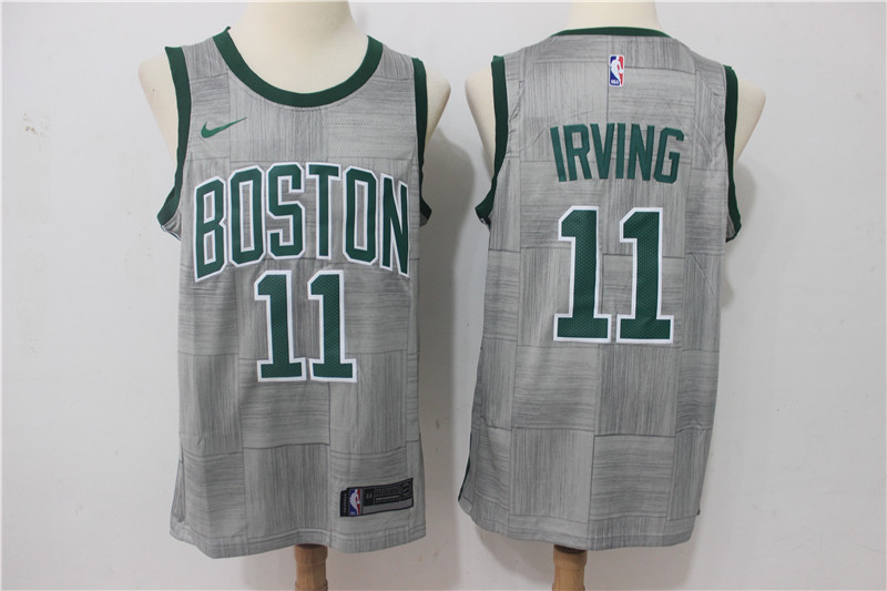 Men Boston Celtics 11 Irving Grey Game Nike NBA Jerseys