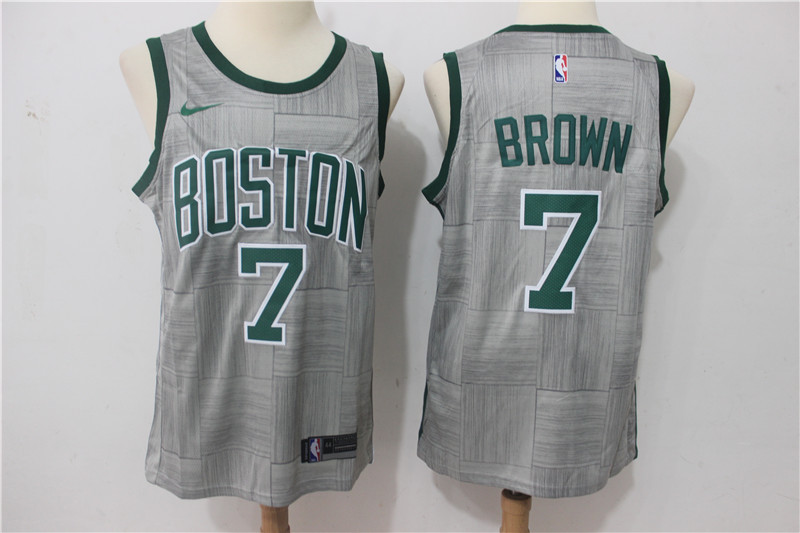Men Boston Celtics 7 Brown Grey Game Nike NBA Jerseys