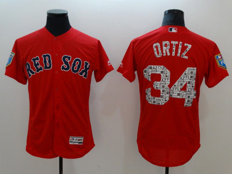 Men Boston Red Sox 34 Ortiz Red Elite Spring Edition MLB Jerseys