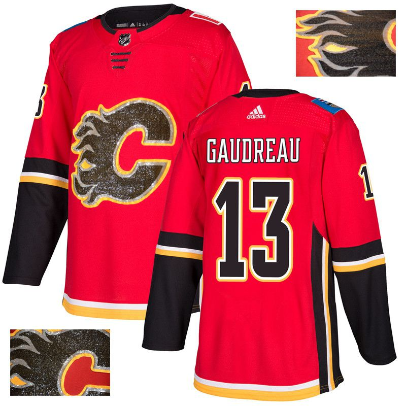 Men Calgary Flames 13 Gaudreau Red Gold embroidery Adidas NHL Jerseys