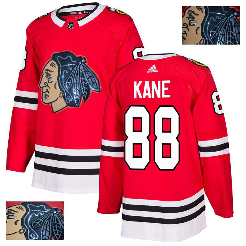 Men Chicago Blackhawks 88 Kane Red Gold embroidery Adidas NHL Jerseys
