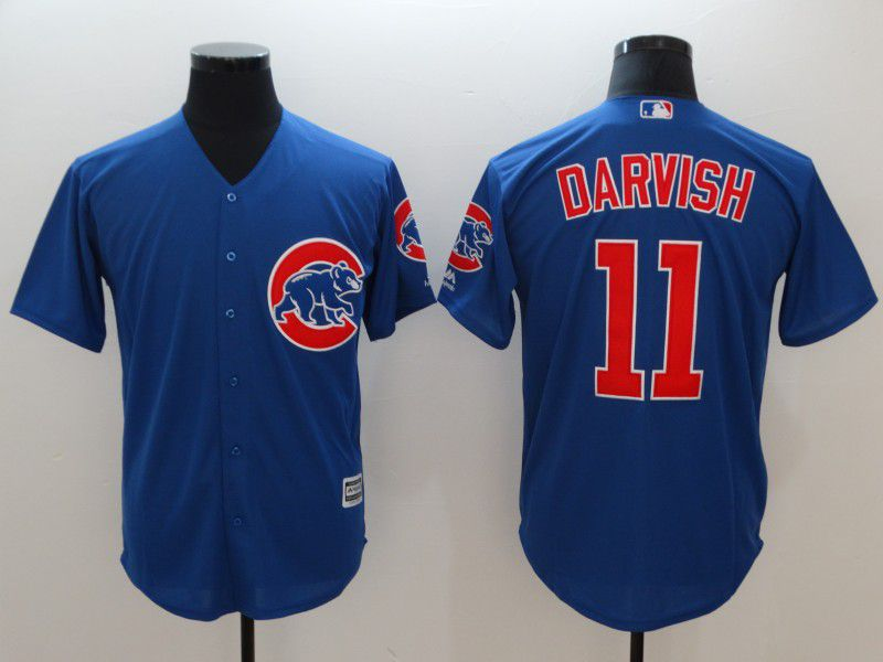 Men Chicago Cubs 11 Darvish Blue Game MLB Jerseys