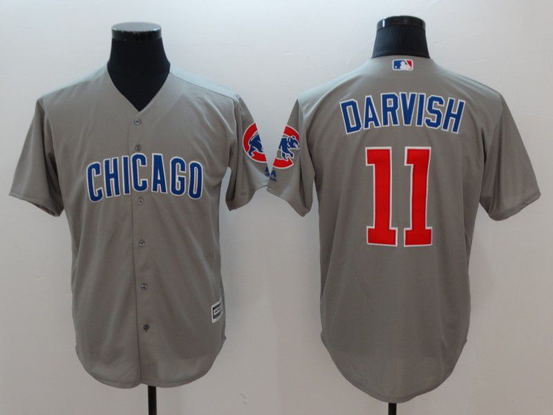 Men Chicago Cubs 11 Darvish Grey Game MLB Jerseys