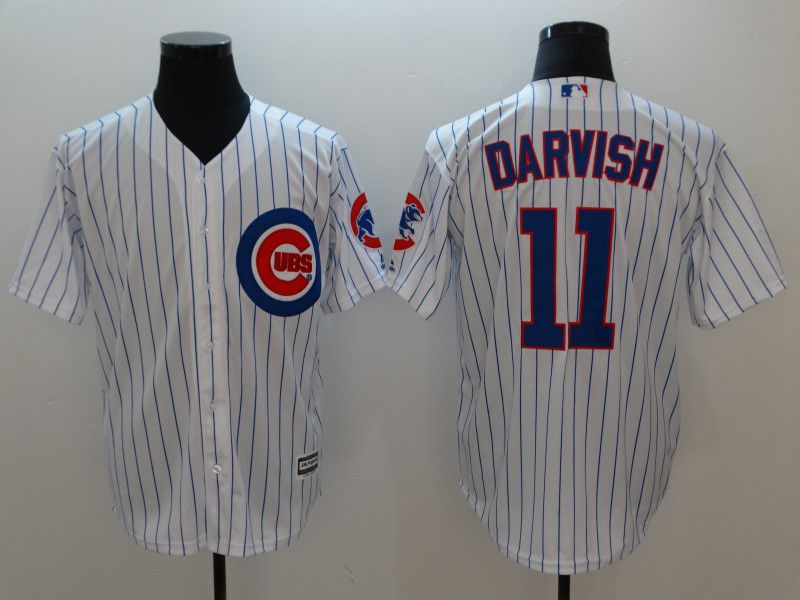 Men Chicago Cubs 11 Darvish White Game MLB Jerseys