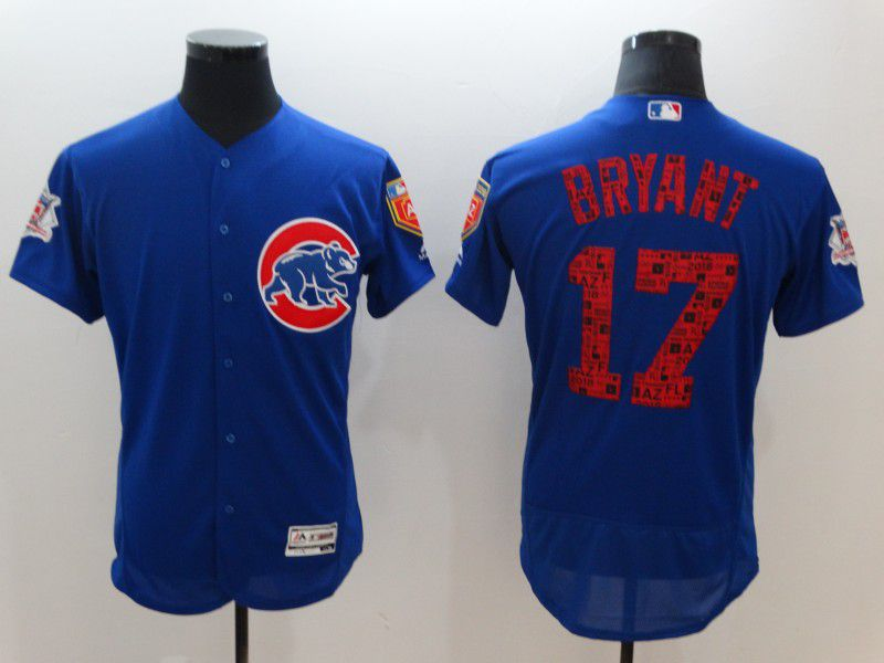 Men Chicago Cubs 17 Bryant Blue Elite Spring Edition MLB Jerseys