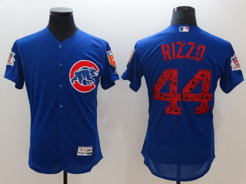 Men Chicago Cubs 44 Rizzo Blue Elite Spring Edition MLB Jerseys