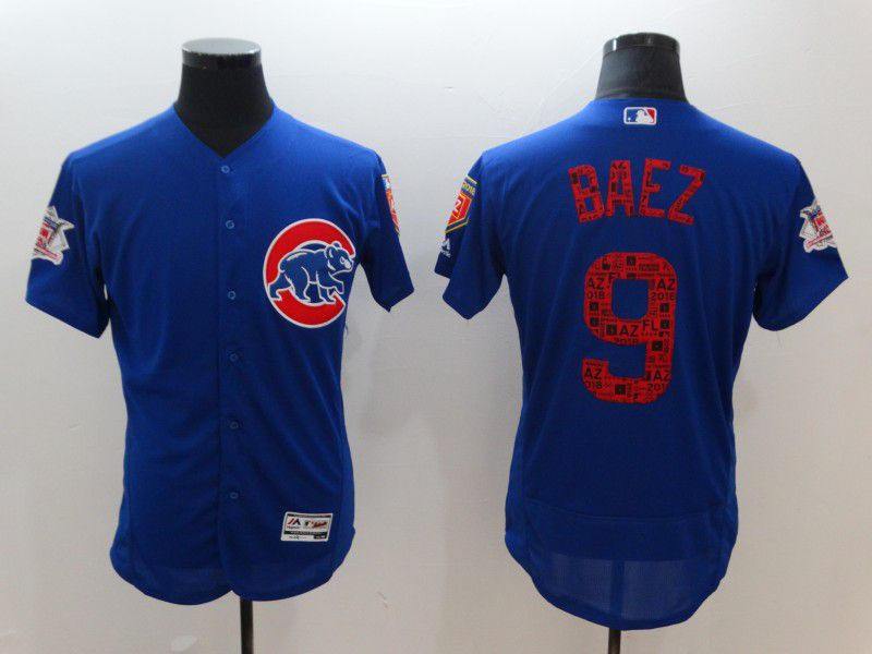 Men Chicago Cubs 9 Baez Blue Elite Spring Edition MLB Jerseys