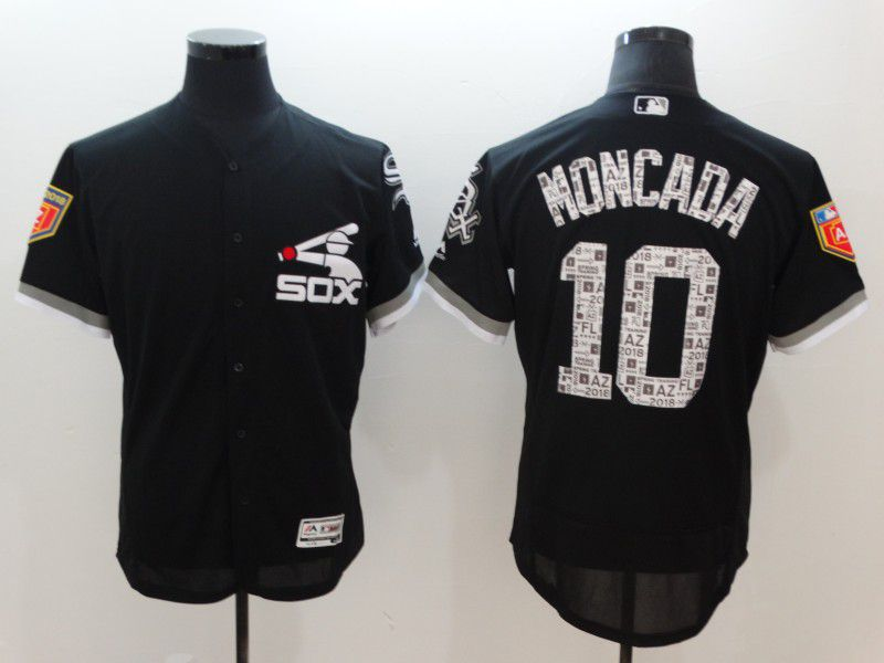 Men Chicago White Sox 10 Moncada Black Elite Spring Edition MLB Jerseys