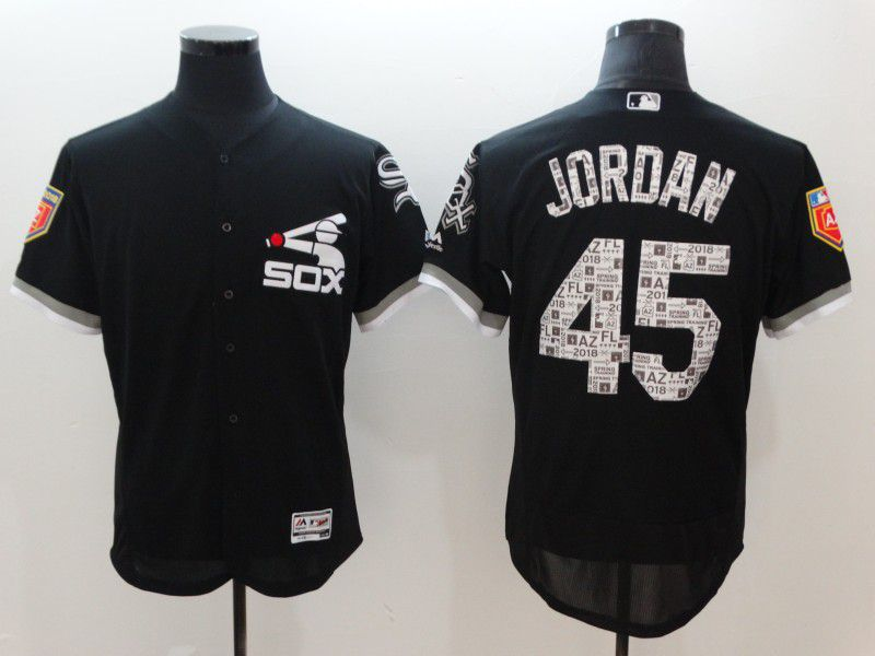 Men Chicago White Sox 45 Jordan Black Elite Spring Edition MLB Jerseys