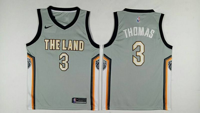 Men Cleveland Cavaliers 3 Thomas Grey City Edition Nike NBA Jerseys