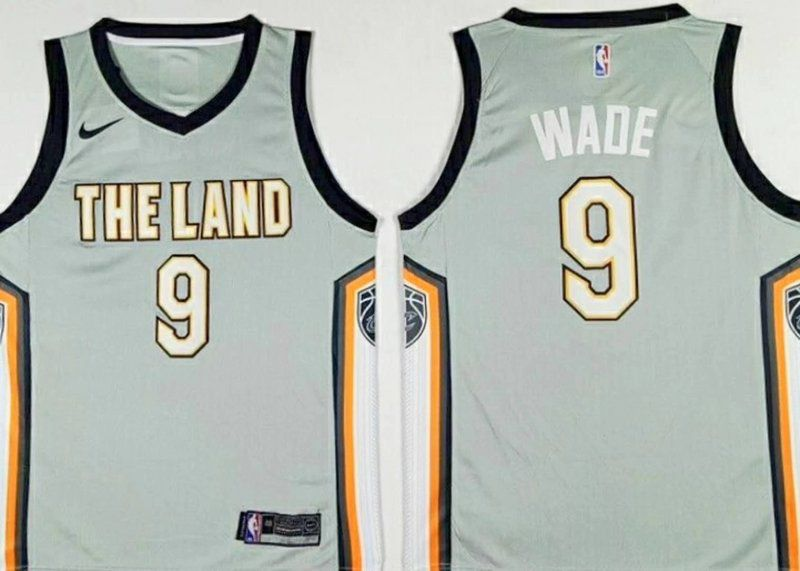 Men Cleveland Cavaliers 9 Wade Grey City Edition Nike NBA Jerseys