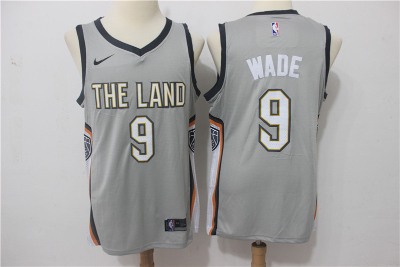 Men Cleveland Cavaliers 9 Wade Grey Game Nike NBA Jerseys
