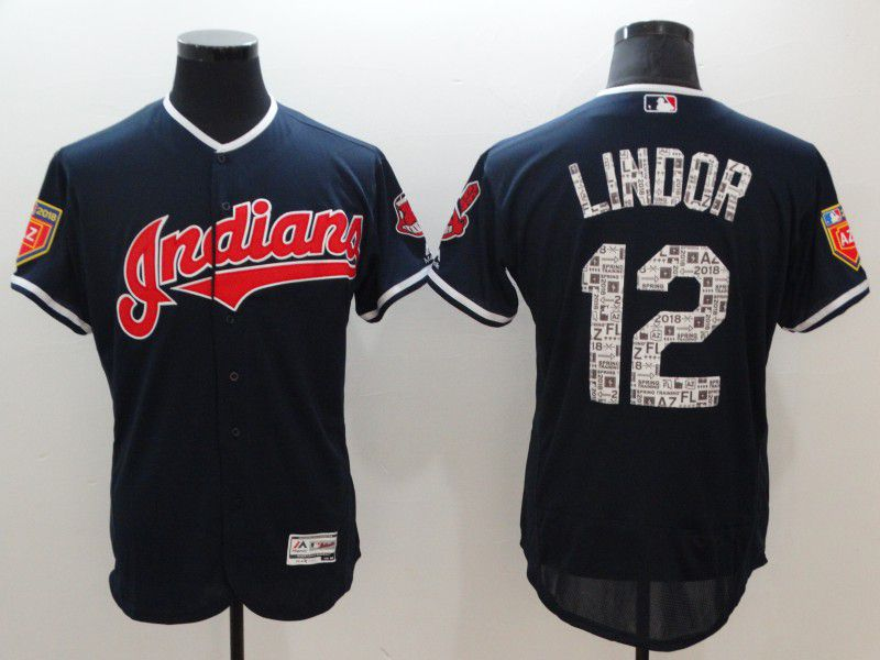 Men Cleveland Indians 12 Lindor Blue Elite Spring Edition MLB Jerseys
