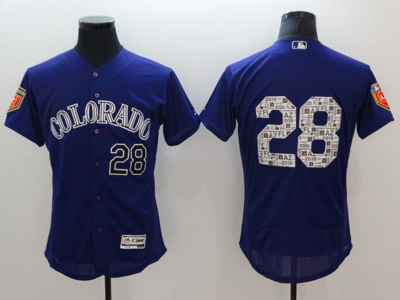 Men Colorado Rockies 28 Arenado Blue Elite Spring Edition MLB Jerseys