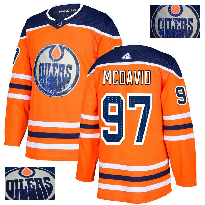 Men Edmonton Oilers 97 Mcdavid Orange Gold embroidery Adidas NHL Jerseys