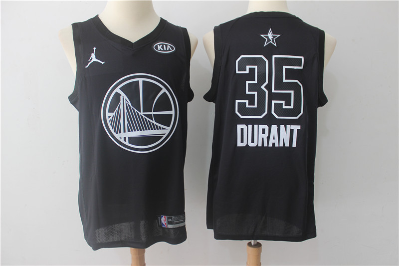 Men Golden State Warriors 35 Durant Black 2108 All Stars NBA Jerseys