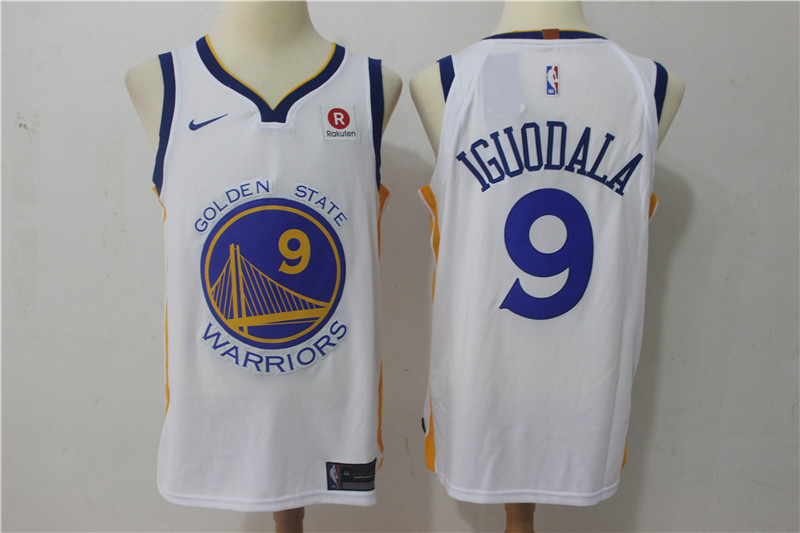 Men Golden State Warriors 9 Iguodala White Game Nike NBA Jerseys