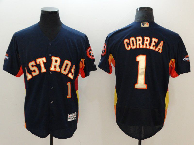 Men Houston Astros 1 Correa Blue Elite Champion Edition MLB Jerseys1