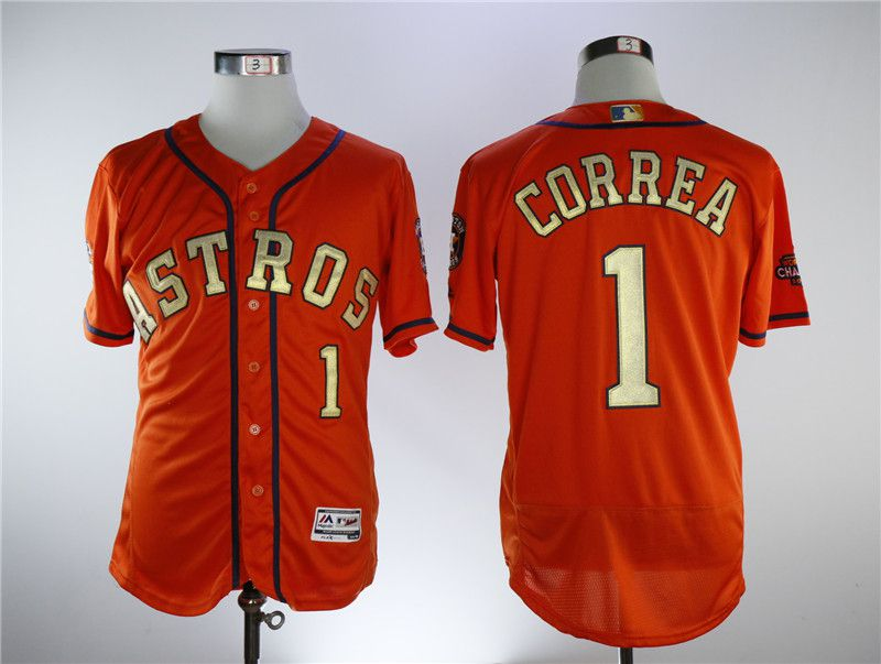 Men Houston Astros 1 Correa Orange Elite Champion Edition MLB Jerseys
