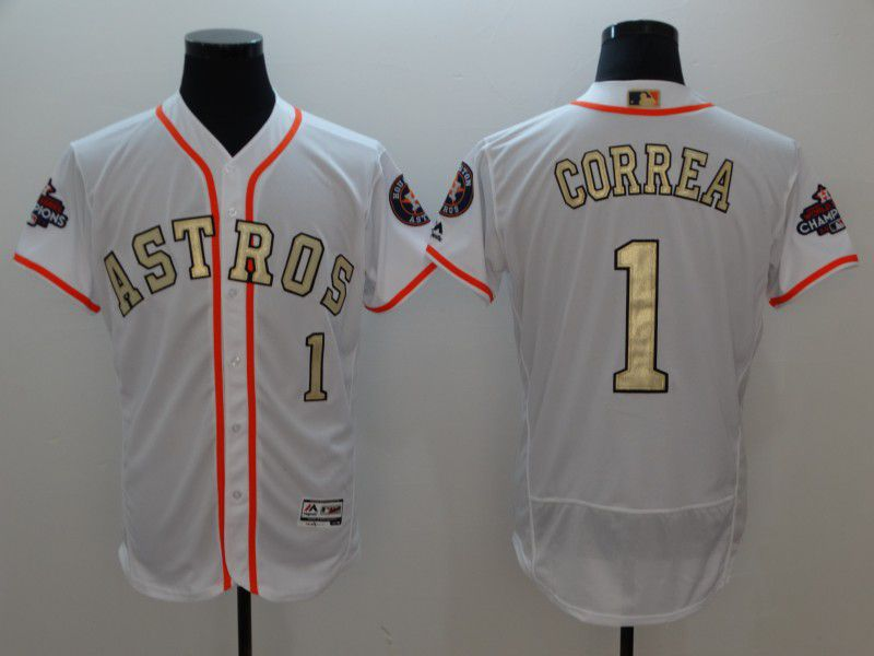 Men Houston Astros 1 Correa White Gold version Elite MLB Jerseys