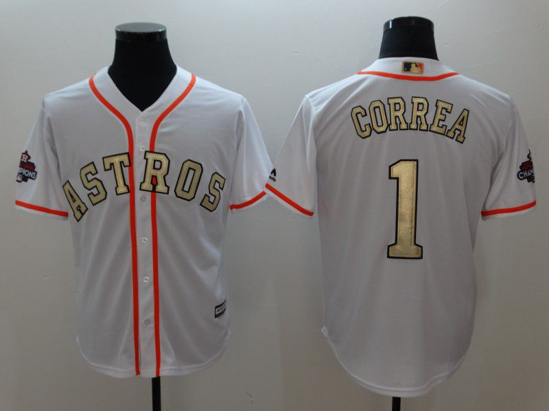 Men Houston Astros 1 Correa White Gold version Game MLB Jerseys