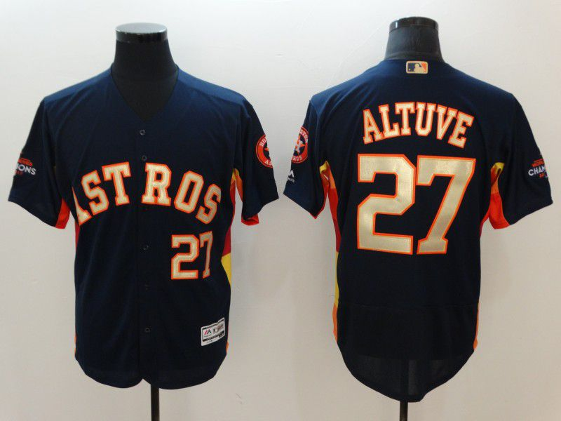 Men Houston Astros 27 Altuve Blue Elite Champion Edition MLB Jerseys
