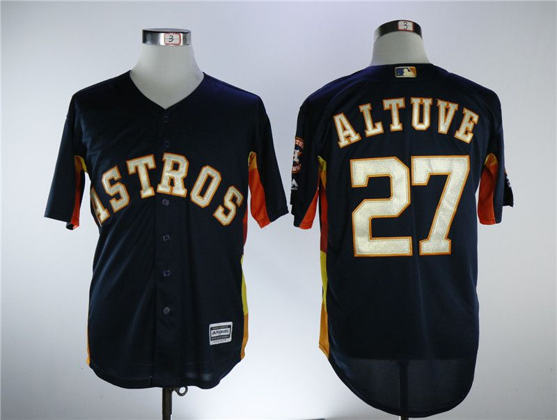Men Houston Astros 27 Altuve Blue Game Champion Edition MLB Jerseys