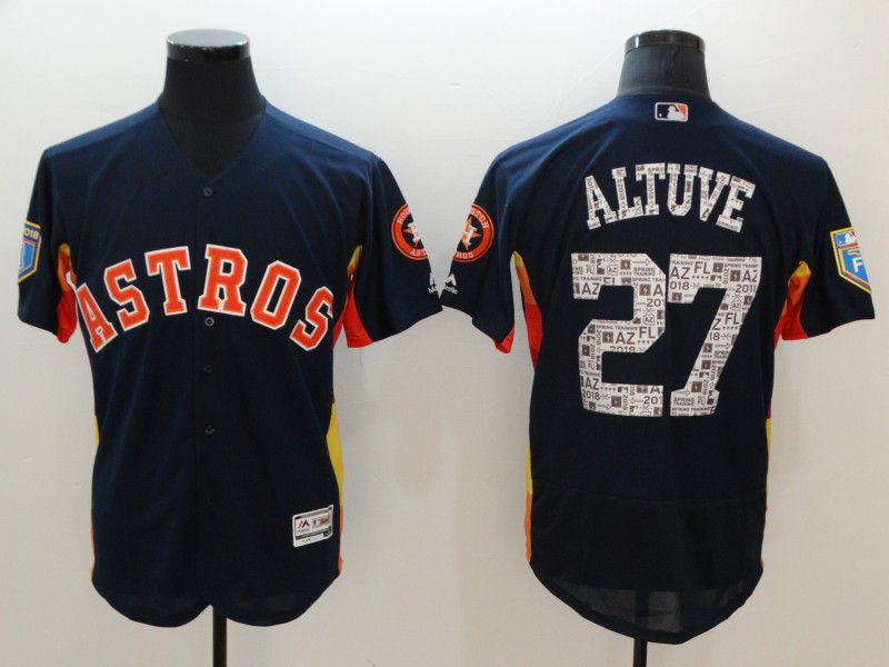 Men Houston Astros 27 Altuve Blue Spring Edition MLB Jerseys