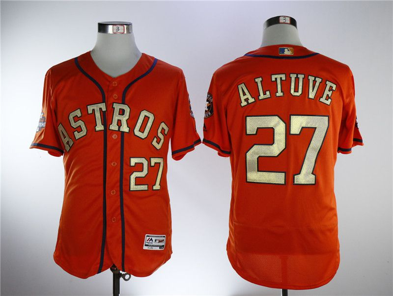 Men Houston Astros 27 Altuve Orange Elite Champion Edition MLB Jerseys