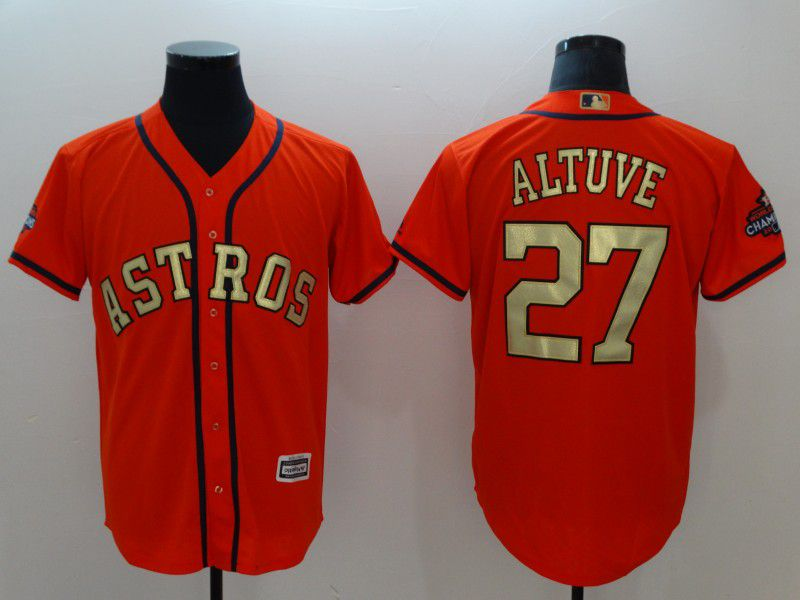 Men Houston Astros 27 Altuve Orange Game Champion Edition MLB Jerseys