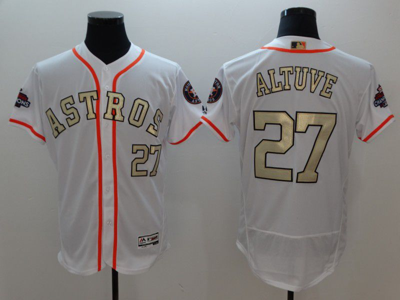 Men Houston Astros 27 Altuve White Gold version Elite MLB Jerseys